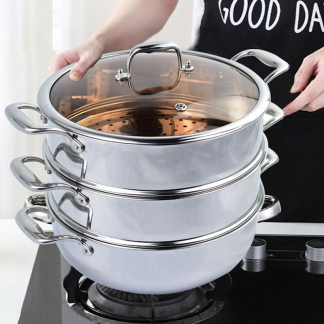 32cm Stainless Steel Food Steamer Insert with Glass Lid   3 Tier