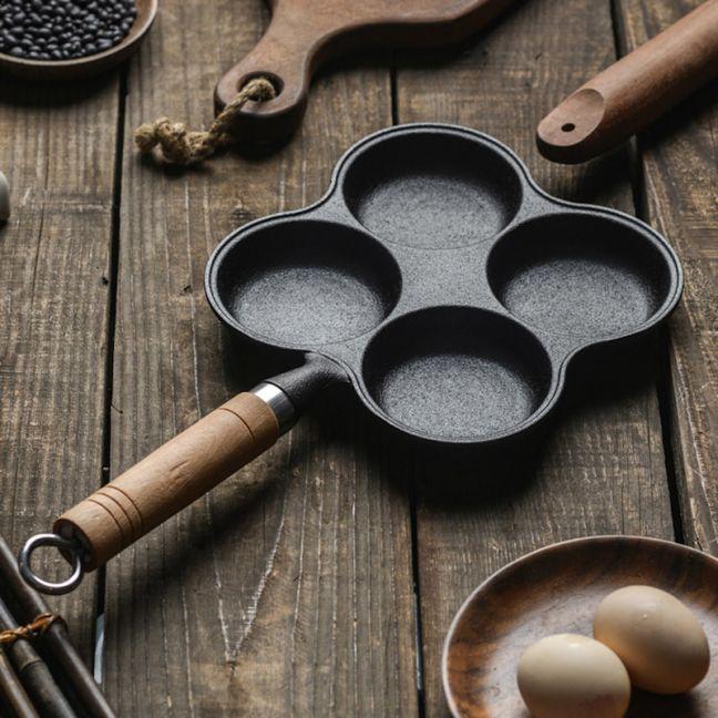 4 Mold Multi-Portion Cast Iron Breakfast Fried Egg Pancake Omelet Fry Pan