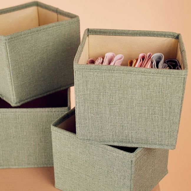 4 Pack Clothes Storage Boxes in Sage Green | Small Size