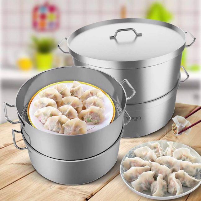 40cm Stainless Steel Food Steamer | 2 Tiers