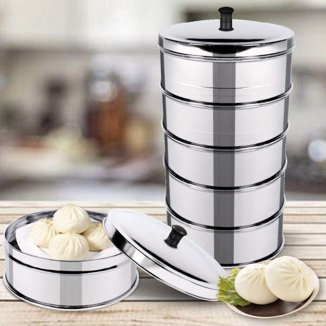 5 Tier Stainless Steel Steamers With Lid |  22cm
