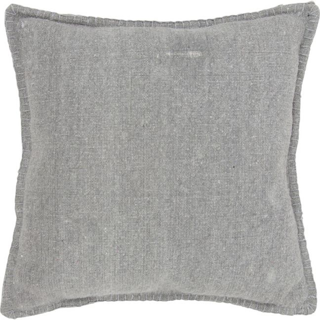50cm Cotton Cushion with Blanket Stitching | Grey | Schots