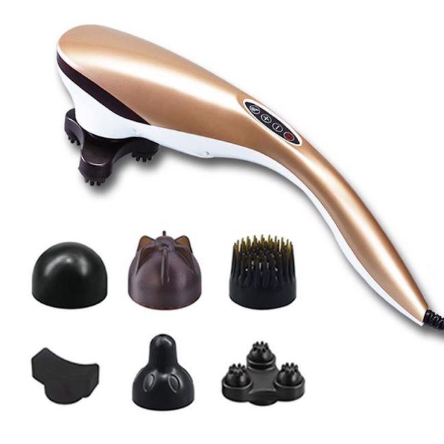 6 Heads Portable Handheld Massager Soothing Stimulate Blood Flow Shoulder Gold