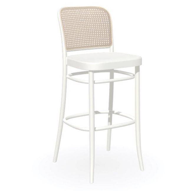 811 | Hoffmann Stool | White with Wood Seat and Cane Backrest by TON