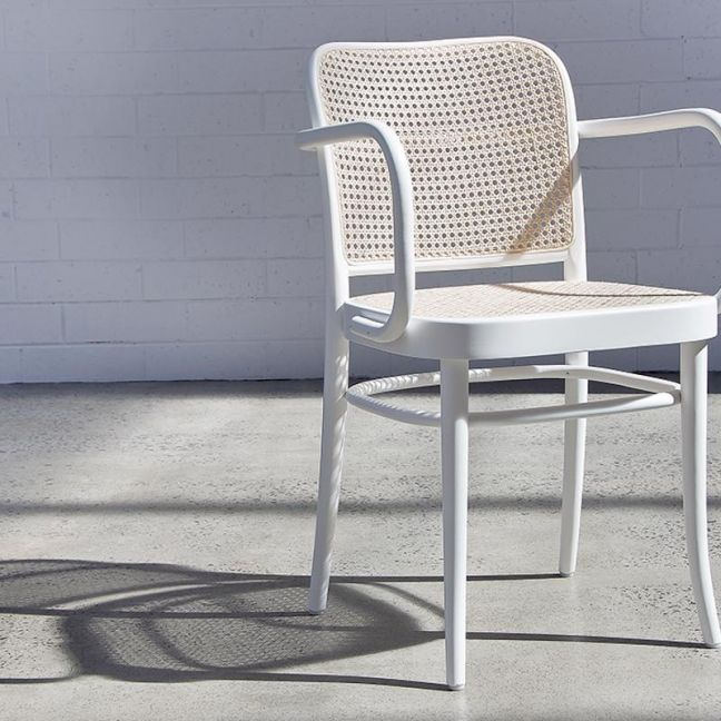 811 Hoffmann White Armchair with Cane Seat and Cane Backrest