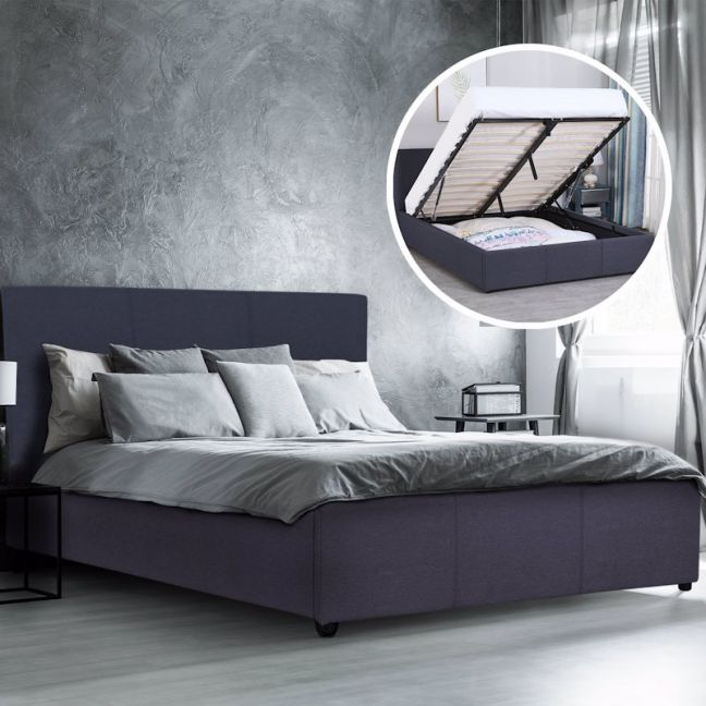 Milano Luxury Gas Lift Bed With Headboard | Charcoal