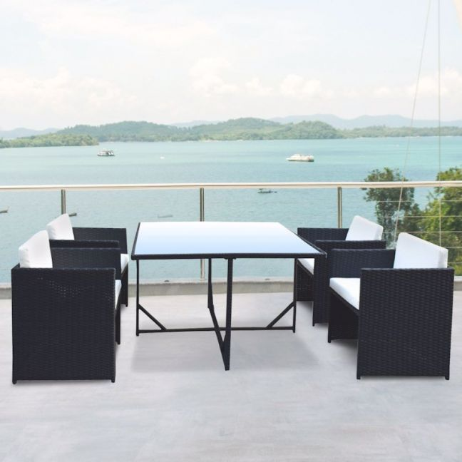 Arcadia Furniture 5 Piece Dining Table Set   Black and Grey