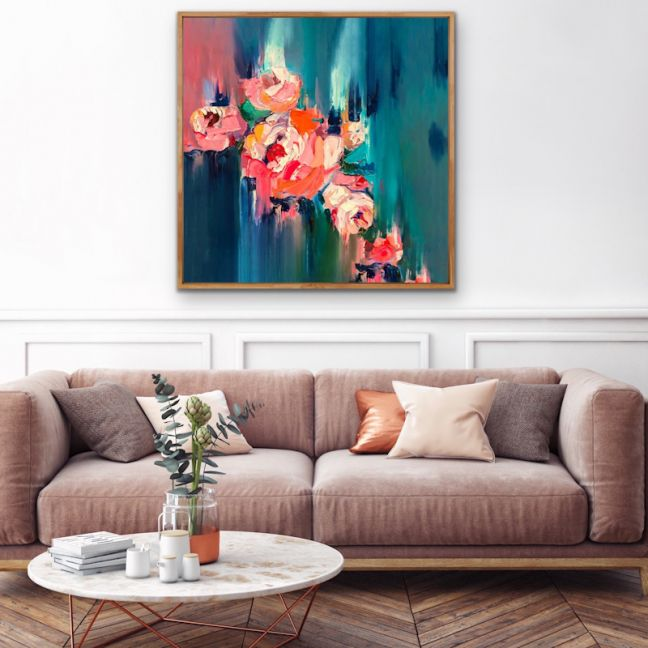 A Golden Day | Abstract Floral Orange & Green Canvas Print