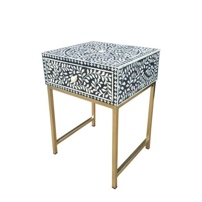 Abacus & Hunt Bone Inlay 1 Drawer Bedside Table | Black Floral | PRE ORDER. DUE 15 NOVEMBER 2021