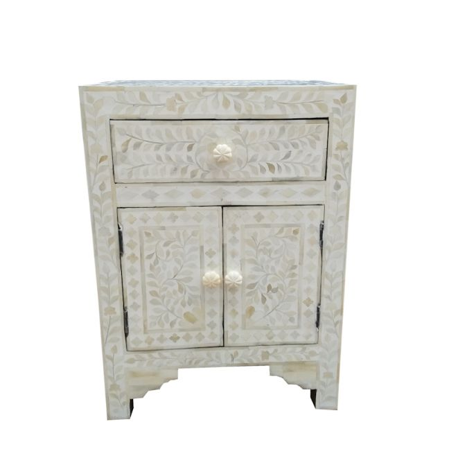 Abacus & Hunt Bone Inlay Bedside Table | White Floral | In Stock