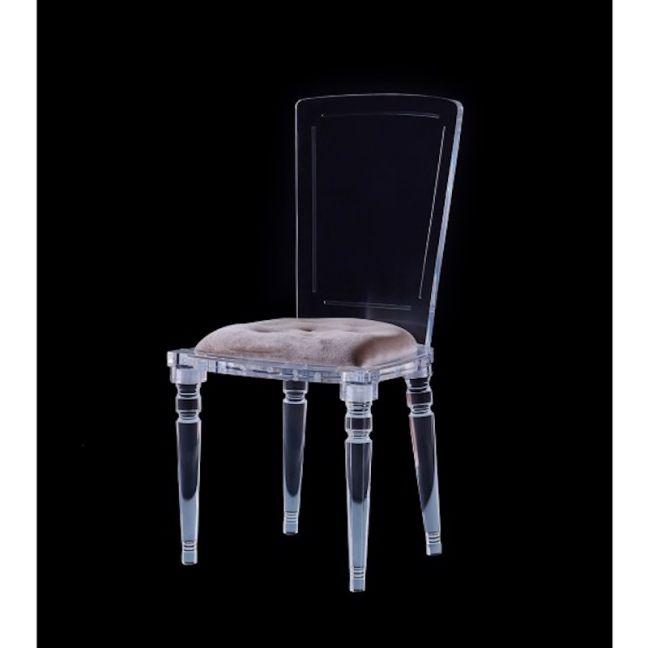 Abbey Lucite Acrylic Armless Dining Chair with Chesterfield Cushion   Customisable