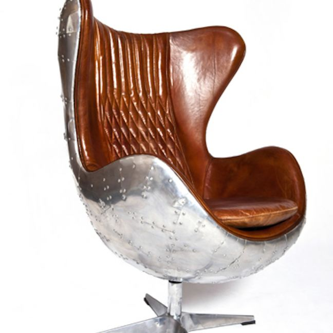 Admiral Brown Leather & Aluminium Egg Chair | by Cocolea Furniture