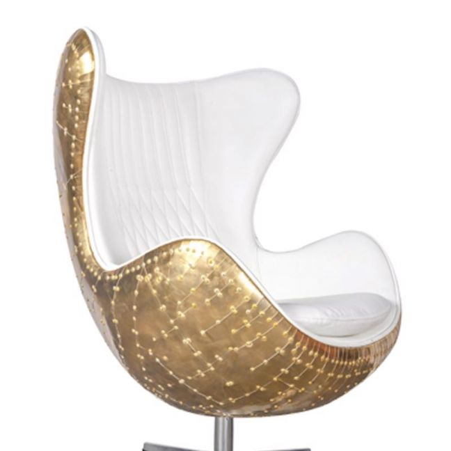 Admiral White Leather and Polished Brass Egg Chair | by Cocolea Furniture