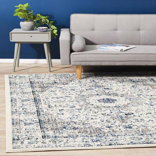 Adorn Evy Transitional | White/Grey/Blue Rug - Pre Order for End of Mid November 2020
