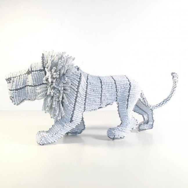 African Beaded Lion | South Africa by Africanologie | White