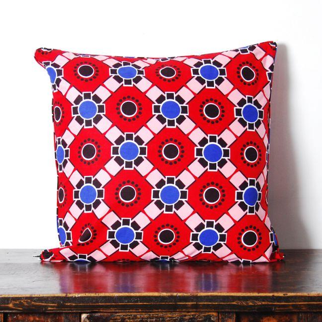 African Wax Print Cotton Cushion | Geometric