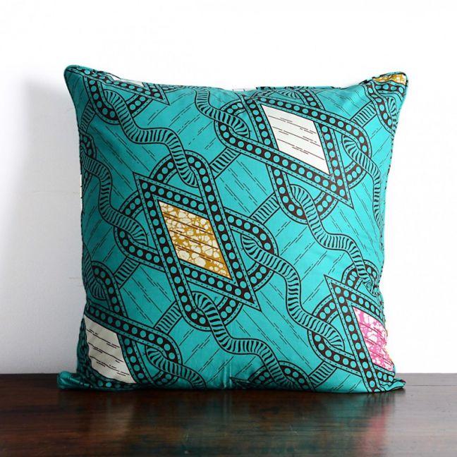 African wax print cotton cushion | Green Chain