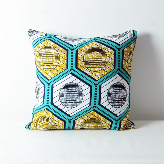 African wax print cotton cushion | Green-Yellow Hexagon