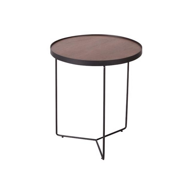 Alora Side Table American | Walnut with Black Legs