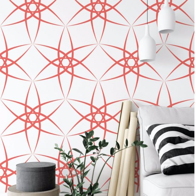 Amba - Contemporary Lines | Eco Wallpaper | Coral | Amba Florette
