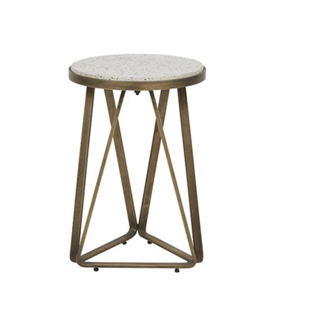 Amelie Luna Terrazzo Side Table | White/Antique Brass | Pre Order