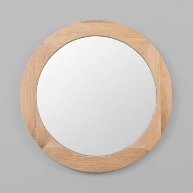 American Oak Framed Round Mirror