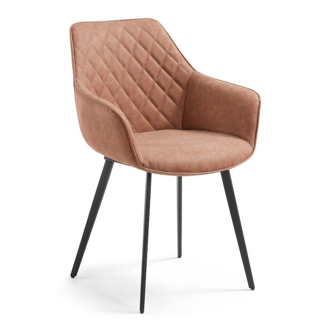 Aminy Armchair in Rust Brown Synthetic Leather