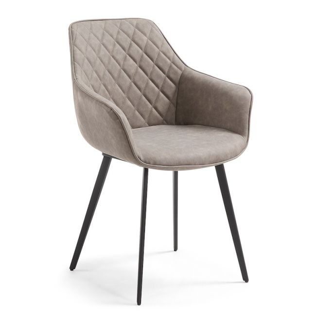 Aminy Armchair in Taupe Synthetic Leather