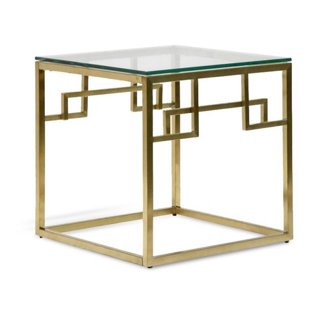 Anderson Side Table - Glass Top | Brushed Gold Base | Interior Secrets