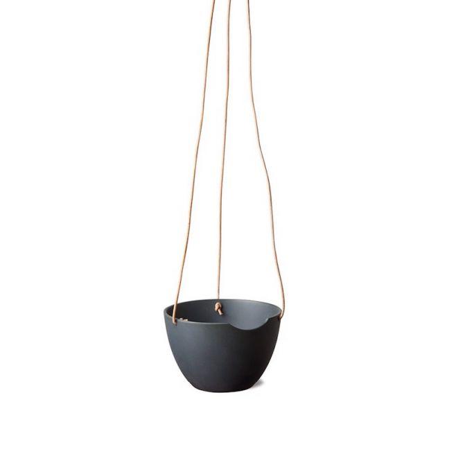 Anne Black CUT ceramic hanging pot | Black