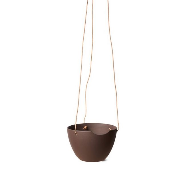 Anne Black CUT ceramic hanging pot | Brown