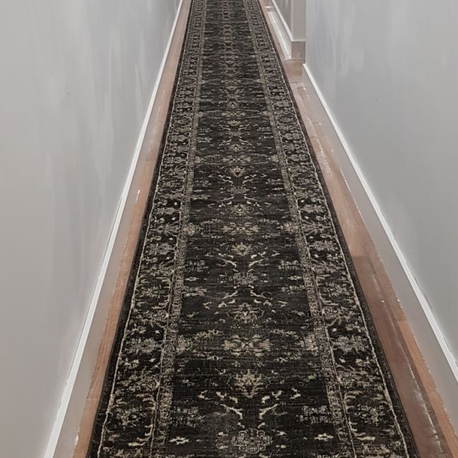Antalya Charcoal Hall Runner | Fume Charcoal | Customized Length - In Stock