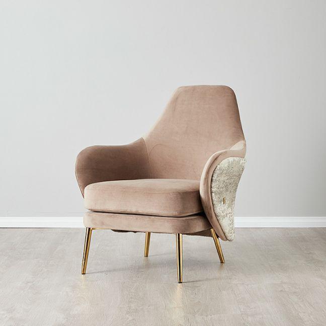 Anya Chair   Velvet   Beige & Cream