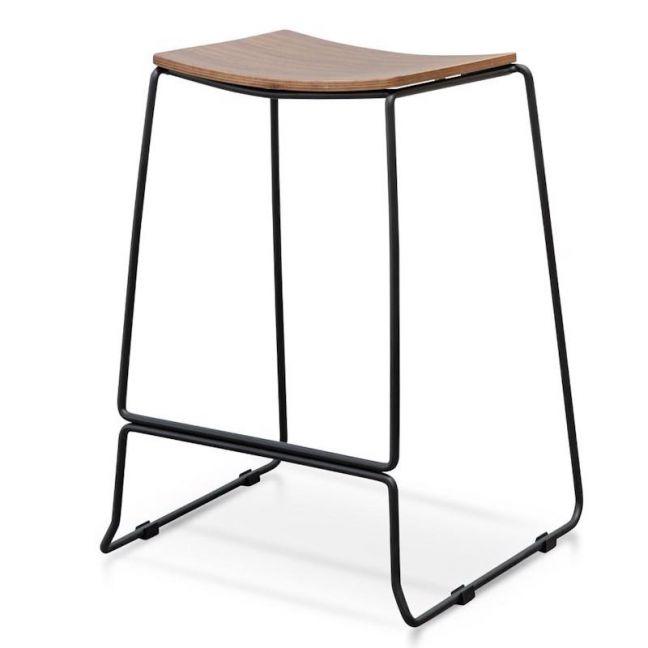 Apollo Bar Stool With Walnut Timber Seat - Black Frame