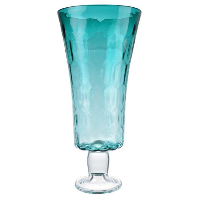 Aqua Footed Hurricane Vase | Tall