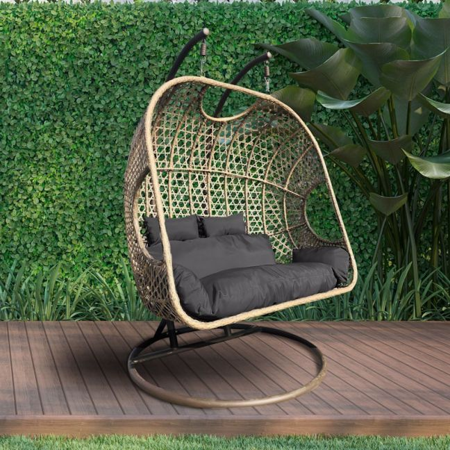 Arcadia Furniture 2 Person Rocking Hammock Egg Chair | Brown and Grey