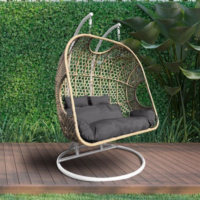 Arcadia Furniture 2 Person Rocking Hammock Egg Chair | Oatmeal and Grey