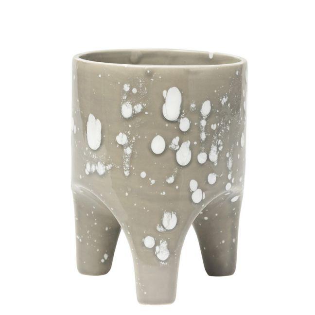 Arched Leg Plant Pot Grey Crystal