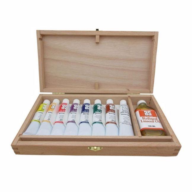 Art Spectrum Wooden Box Set   8 x 40ml Oil Paint Tubes