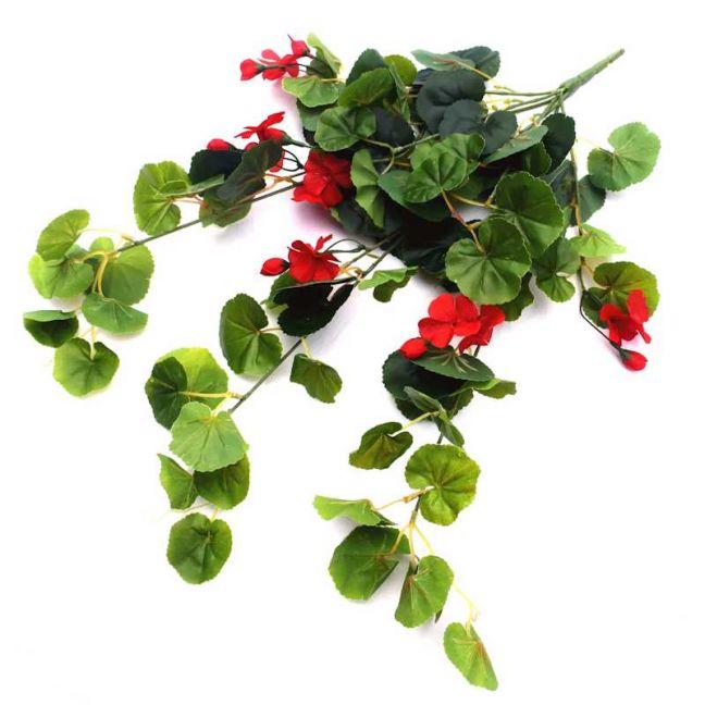Artificial Geranium Hanging Bush | Red Flowers
