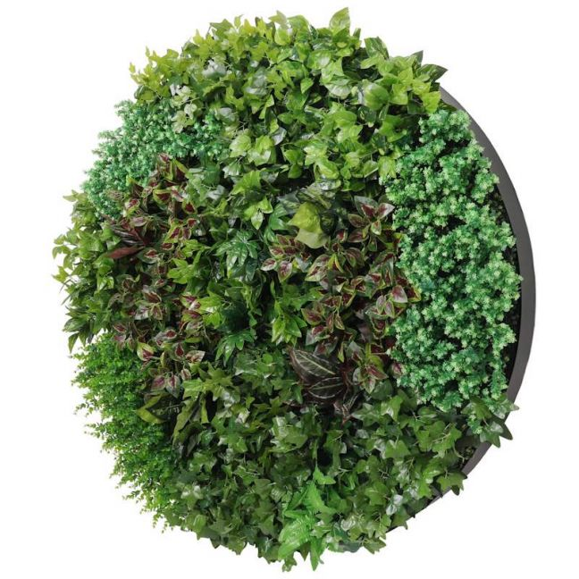 Artificial Green Wall Disc Art | 150cm Dense Green Sensation | Onyx Black