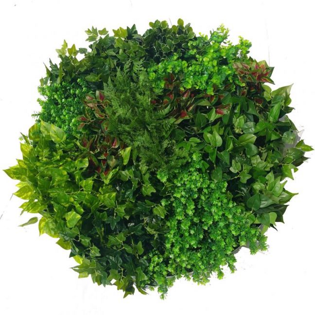 Artificial Green Wall Disk Art | 100cm Mixed Ivy and Fern