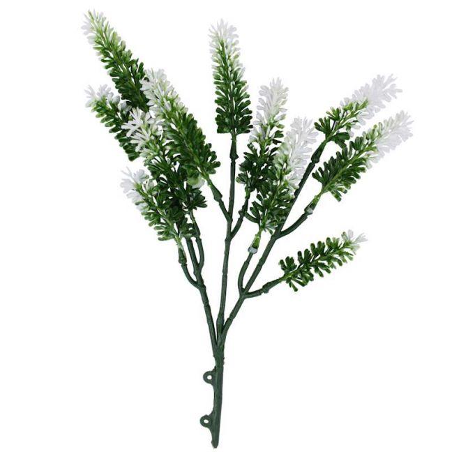 Artificial Small White Lavender   UV Resistant   26cm