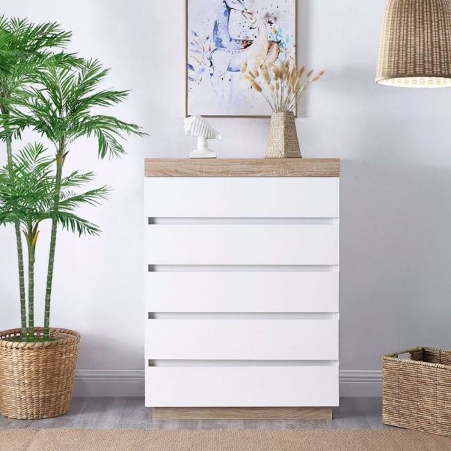Ashley  White Wooden Chest of 5 Drawers   Tallboy