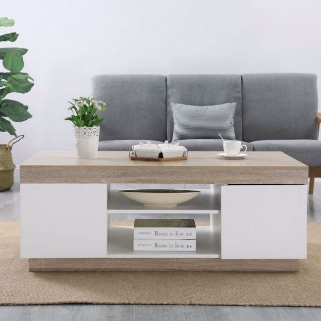 Ashley White Wooden Coffee Table Side Table | 120cm