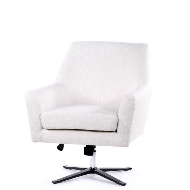 Ava Swivel Chair | Linen White | by Black Mango