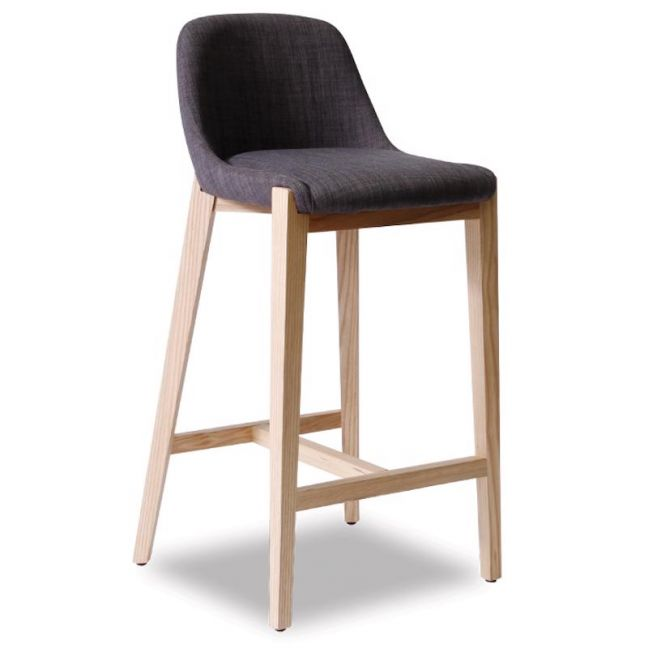 Avenue Stool | Natural Ash Frame with Charcoal Linen Padded Seat