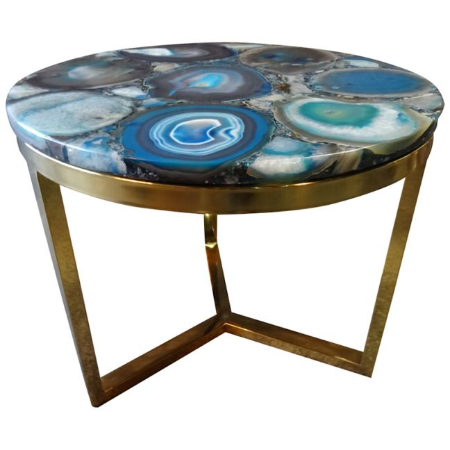Azzure Teal Blue Agate Nestling Table  with Gold Metal Frame