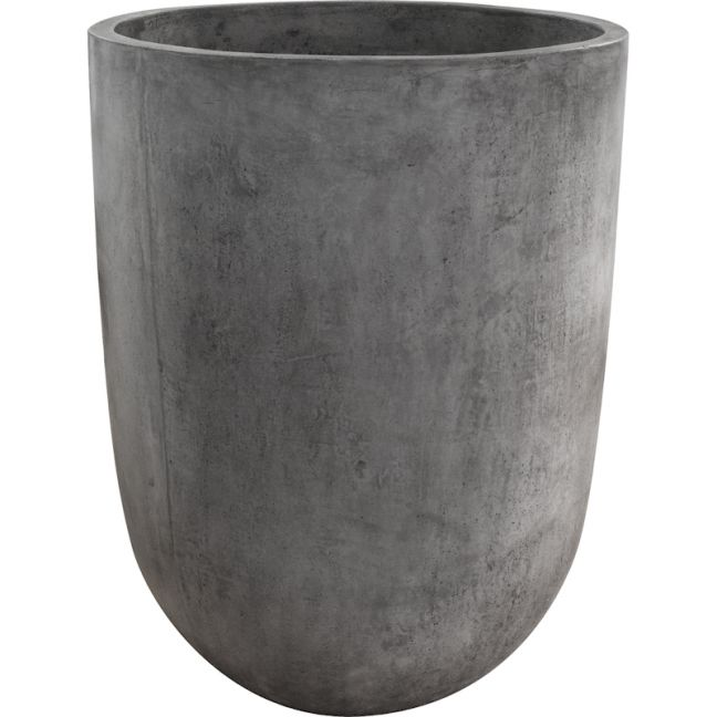 Bali Round 69x90cm Polished Concrete Planter, Dark Grey   Schots