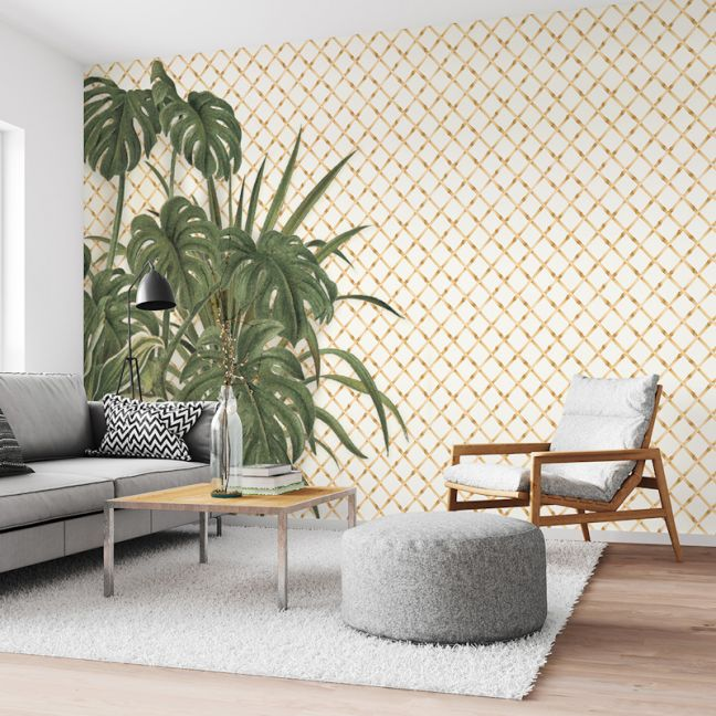 Bamboo Lattice with Leaves | Wallpaper